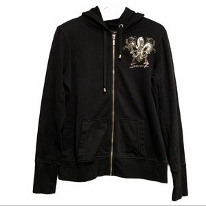 Seven7 Full Zip Hoodie Black with Silver Sequins
